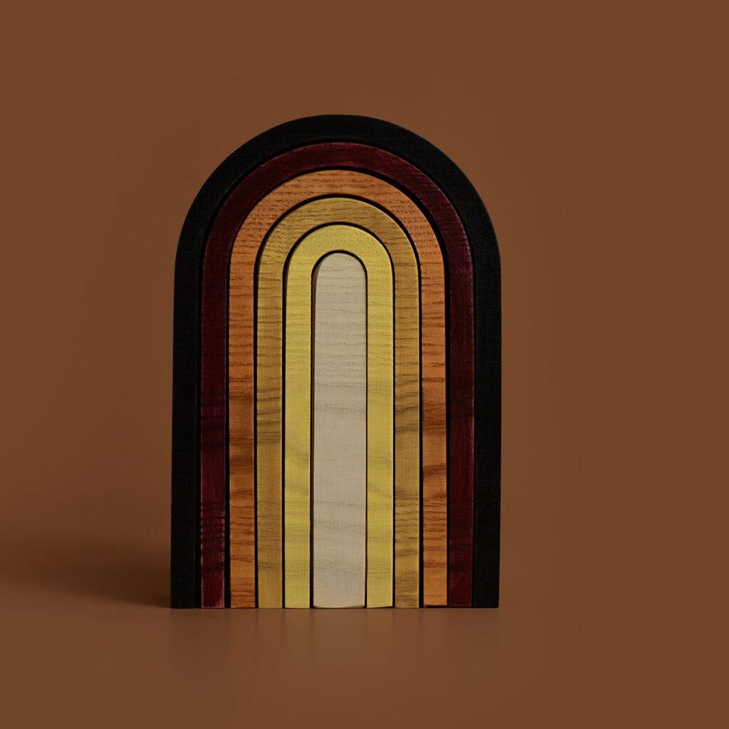 minmin houten regenboog aarde