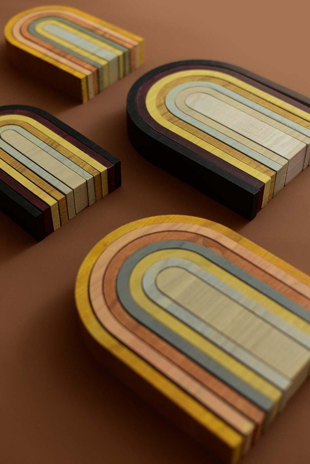 minminminmin houten regenboog aarde en pastel