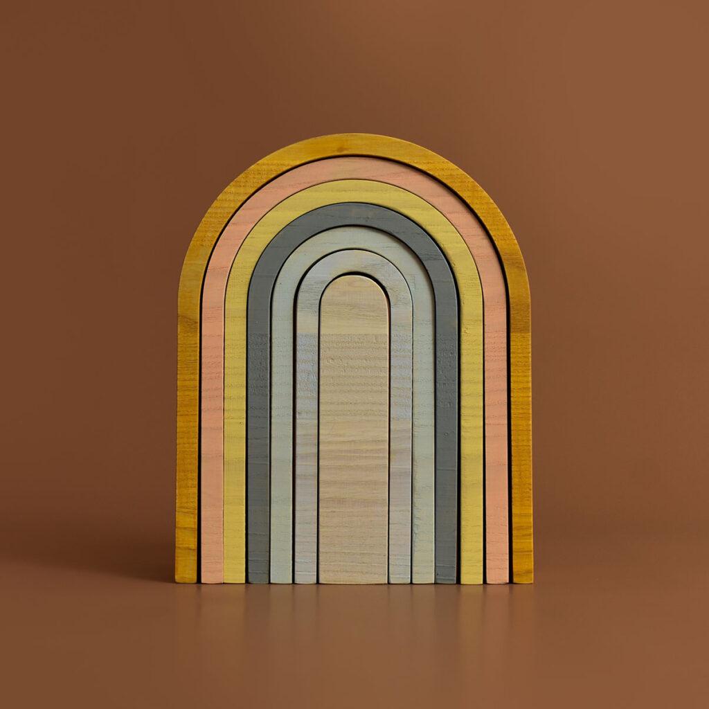 minmin houten regenboog pastel